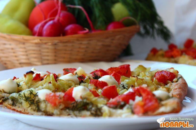 Рецепт Картофельная пицца на рассольном тесте с цветной капустой, сладким перцем, кабачками и помидорами