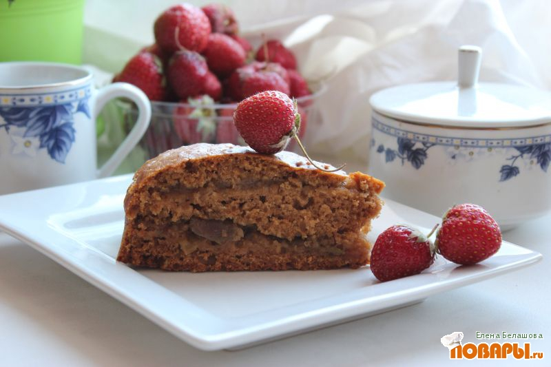 Рецепт Постный пирог на яблочном джеме с прослойкой