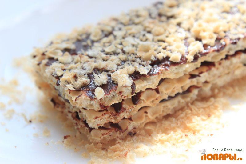 Рецепт Вафли постные (из готовых вафельных листов с постной шоколадной пастой)
