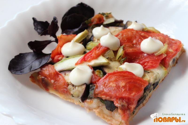 Рецепт Веганская пицца с баклажанами и кабачками на бездрожжевом тесте