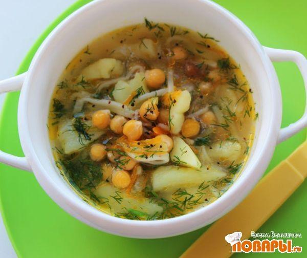 Рецепт Нутовый суп-лапша (вегетарианская/ веганская лапша с нутом)