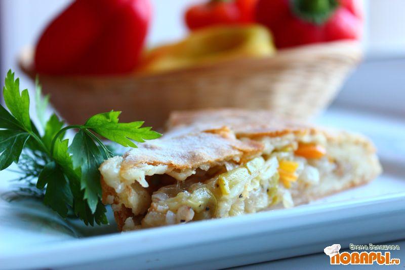 Рецепт Постный пирог на рассольном тесте с крупой (рис и гречка) с овощами