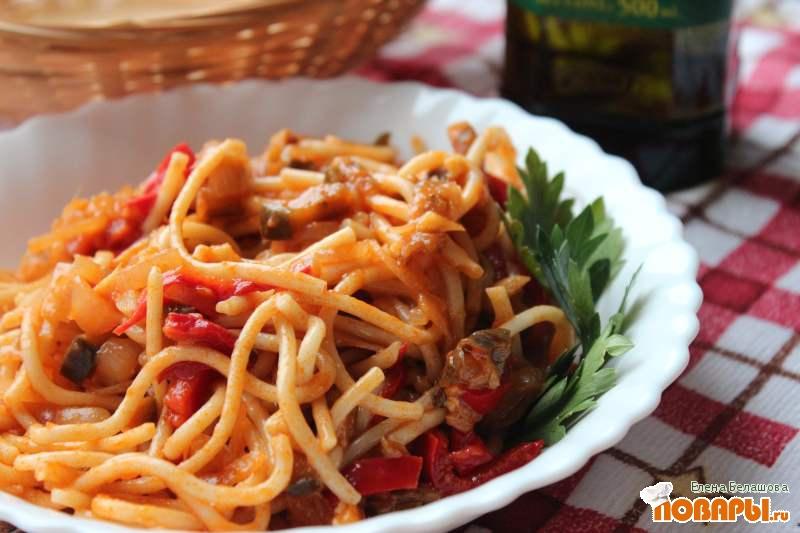 Рецепт Спагетти с баклажанами и томатным соусом