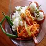 Рисогорохо из горшочка с зажаренной колбасой из индейки