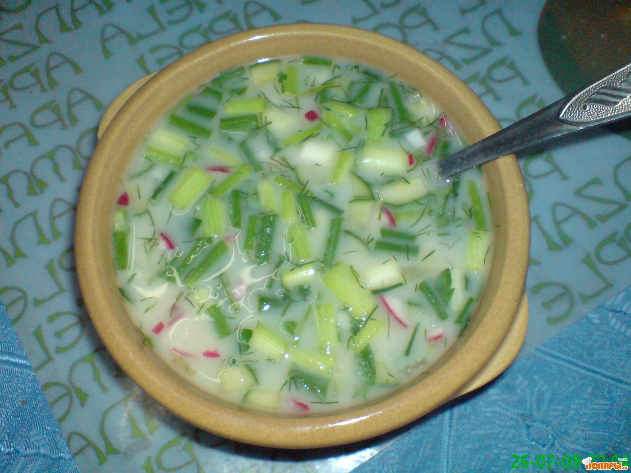 Рецепт Летние супы. Окрошка на квасе.