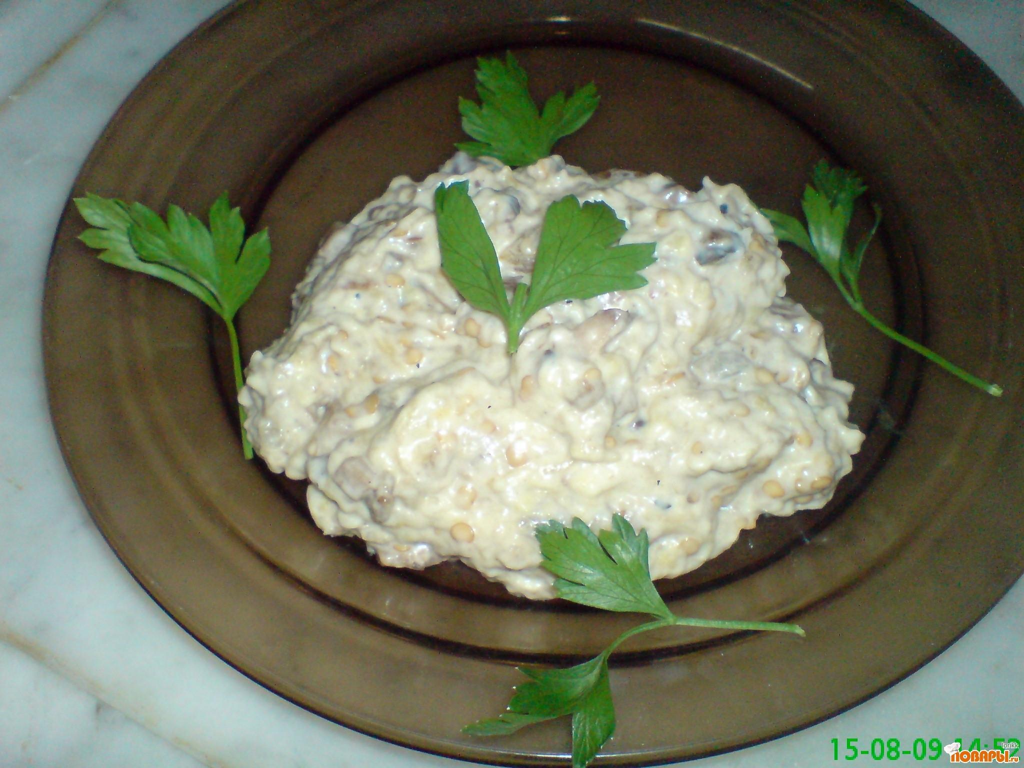 Рецепт Закуска из баклажан с грибами.