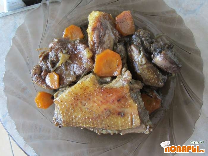Рецепт Тушеная утка, приготовленная в мультиварке