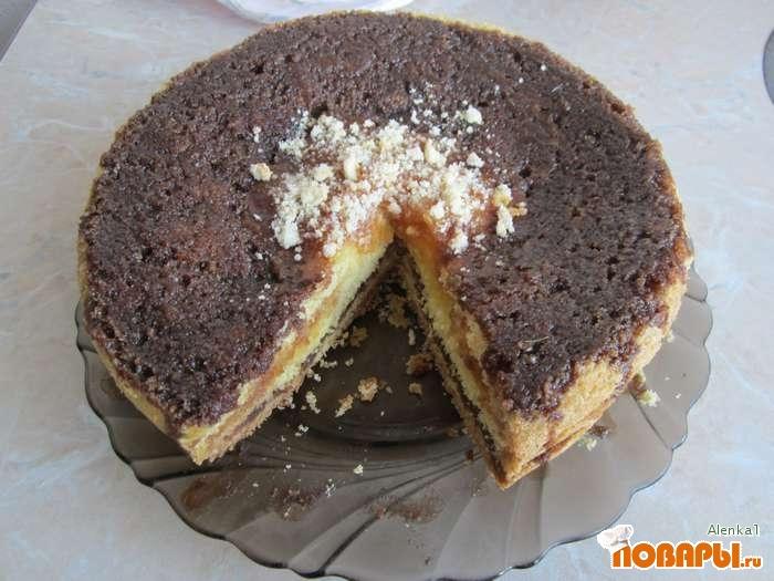 Рецепт Торт с яблочно-шоколадной начинкой, приготовленный в мультиварке