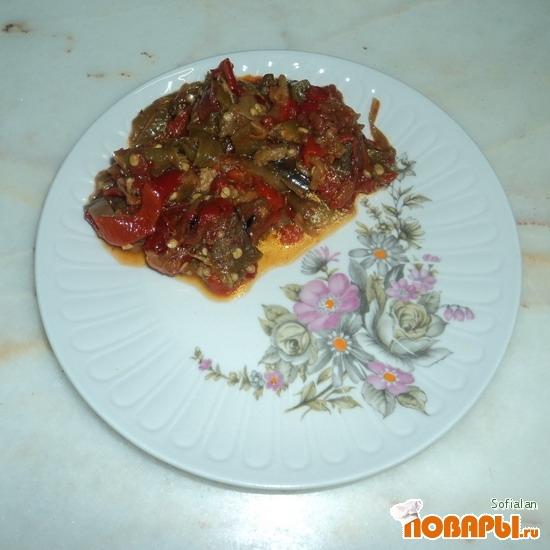 Рецепт Баклажан тушеный с перцем