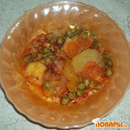 Рецепт Картофель тушеный со свежим зеленым горошком