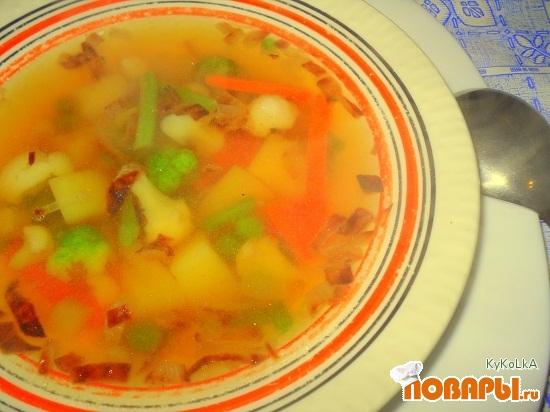 Рецепт Суп на курином бульоне с замороженными овощами