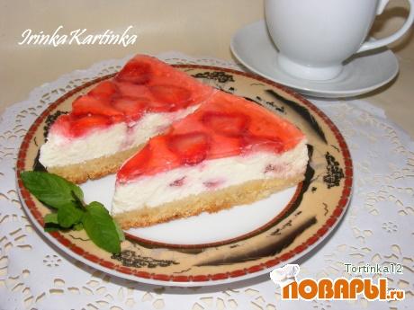 Рецепт Чизкейк с клубникой и желе