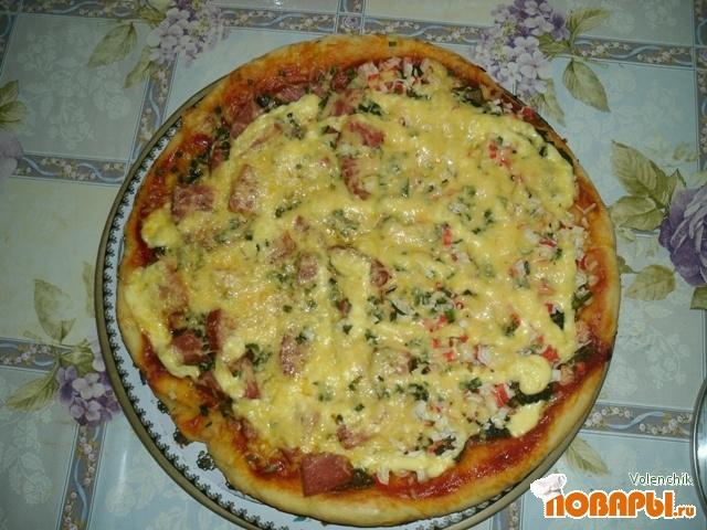 Рецепт Пицца с грибами, колбасою и морепродуктами