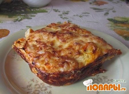 Рецепт Запеканка с капустой, картофелем и ветчиной