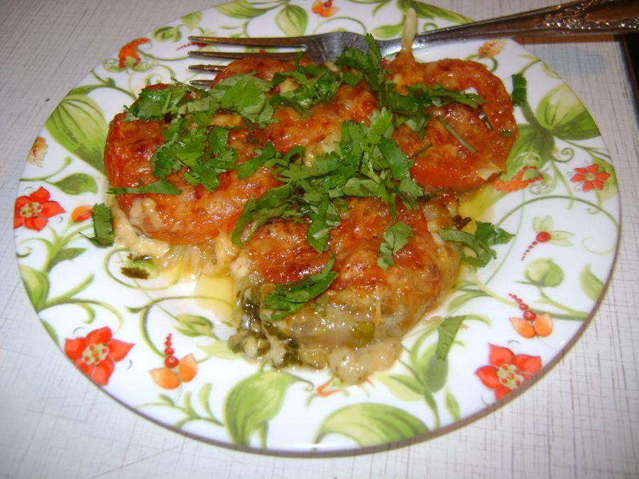 Рецепт Баклажанчик и помидорка под сыром