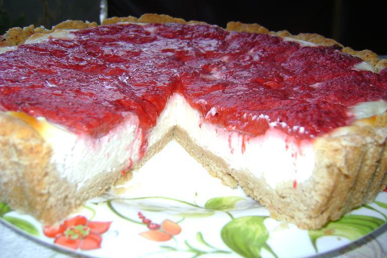 Рецепт Творожно -клубничный пирог
