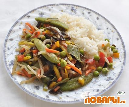 Рецепт Овощи с черным чесноком и рисом