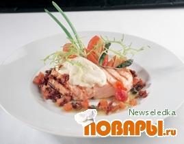 Рецепт Филе норвежской семги, запеченное с сыром моцарелла.