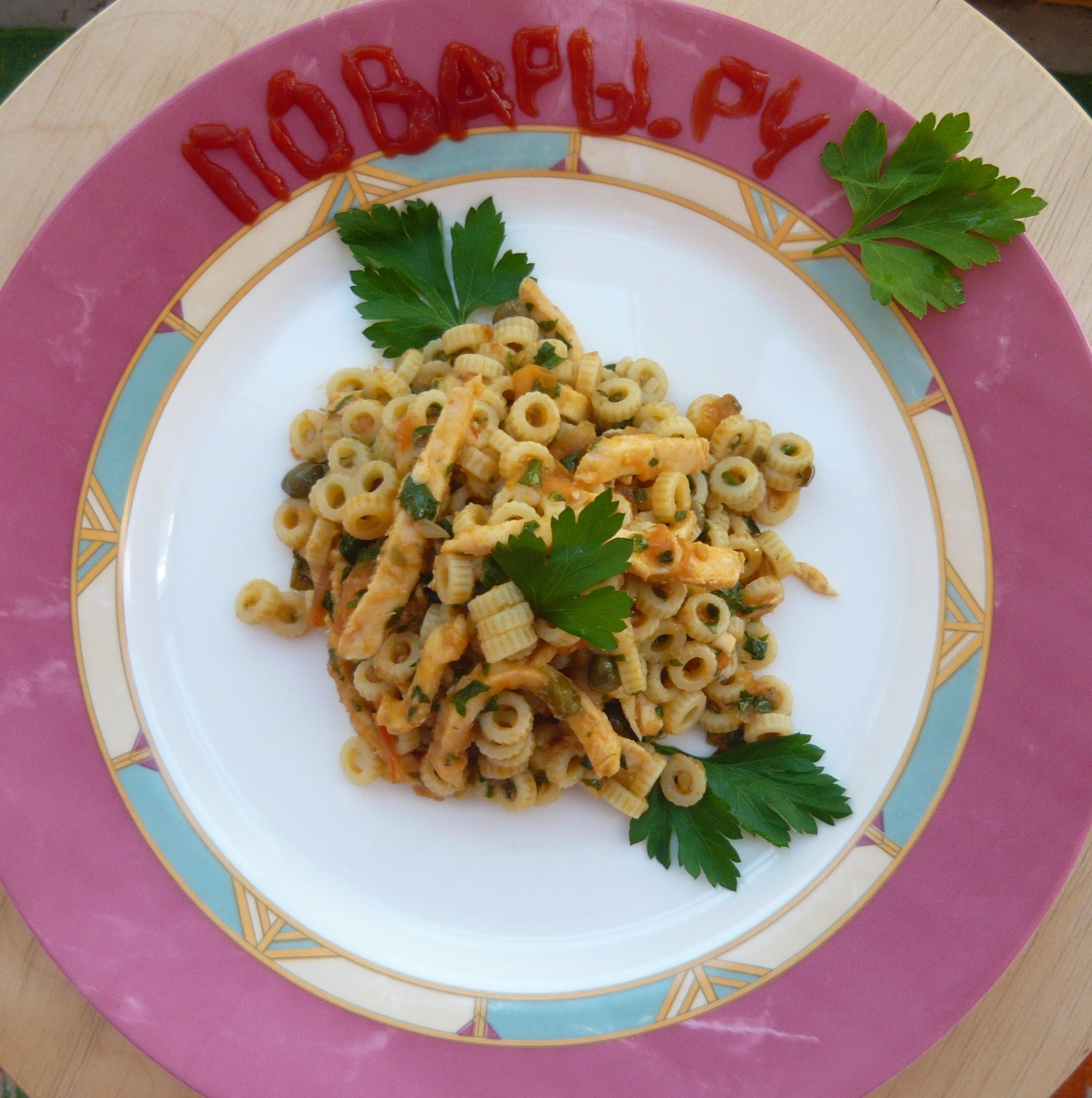 """Рецепт Паста.....""""Муравейник"""" по-итальянски с тушеными кальмарами"""