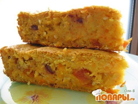 Рецепт Тыквенно-овсяный пирог с сухофруктами