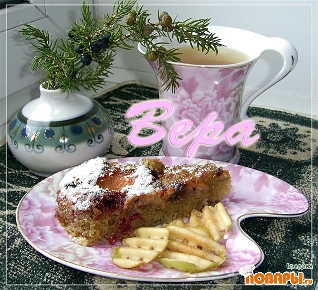 Рецепт Грушево-брусничный пирог.