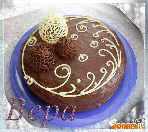 Рецепт Шоколадный торт с брусничным суфле.
