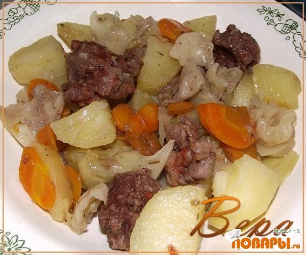 Рецепт Овощи с мясом в рукаве.