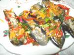 Баклажаны маринованные с овощами.