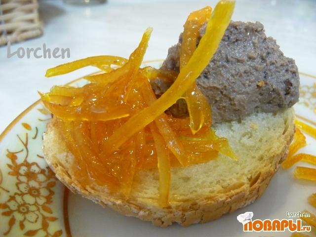 Рецепт Паштет из куриной печени с апельсиновым конфитюром
