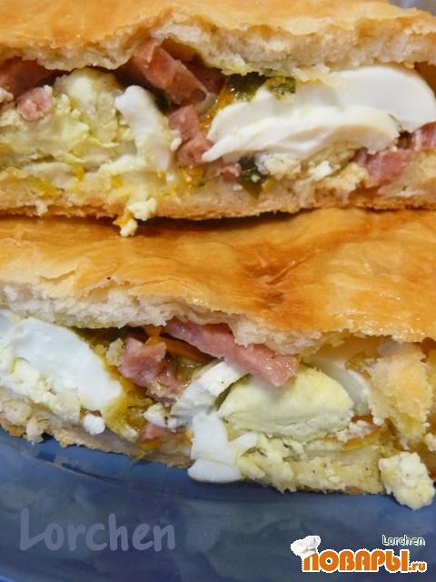 Рецепт Пирог с ветчиной, яйцом и сыром