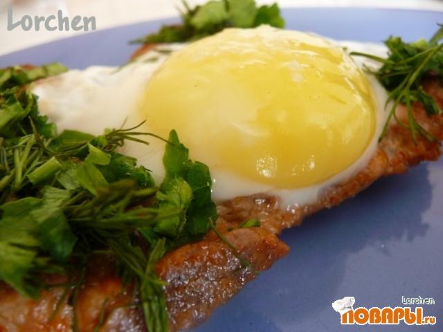Рецепт Стейк из свинины с яйцом