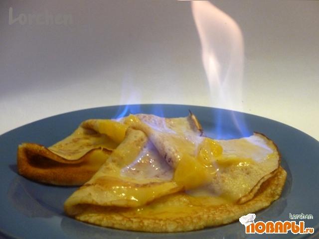 """Рецепт """"Блины на опаре - фламбе с апельсиновым соусом """""""