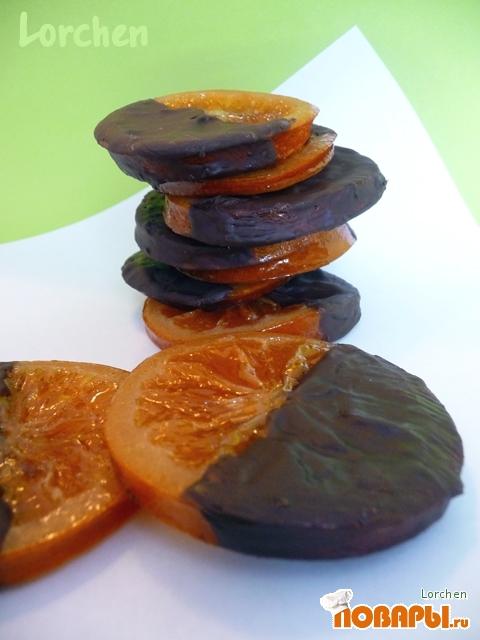 """Рецепт """"Naranjas confitadas bañadas en chocolate или Карамелизованные апельсины в шоколаде"""""""