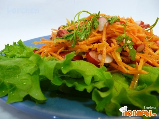 Рецепт Салат из кресс-салата с морковью и редисом