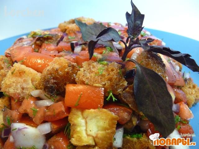 Рецепт PANZANELLA - тосканский хлебный салат с помидорами