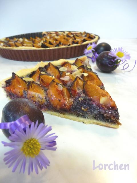 Рецепт Сливовый пирог с начинкой из мака, изюма и миндаля