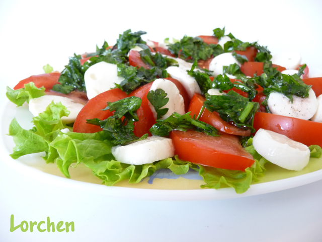 Рецепт Салат с моцареллой, помидорами и зеленым салатом