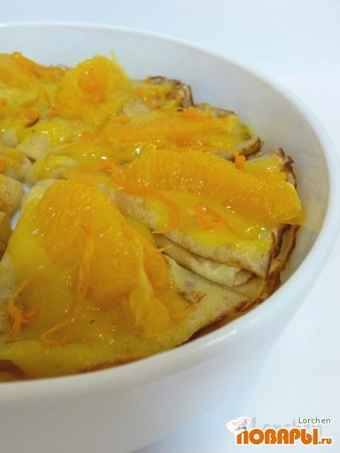 Рецепт Апельсиновые блины с апельсиновым соусом