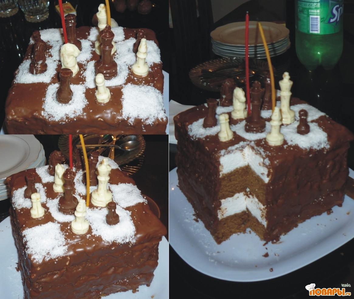 Рецепт Зефирный торт Шахматы