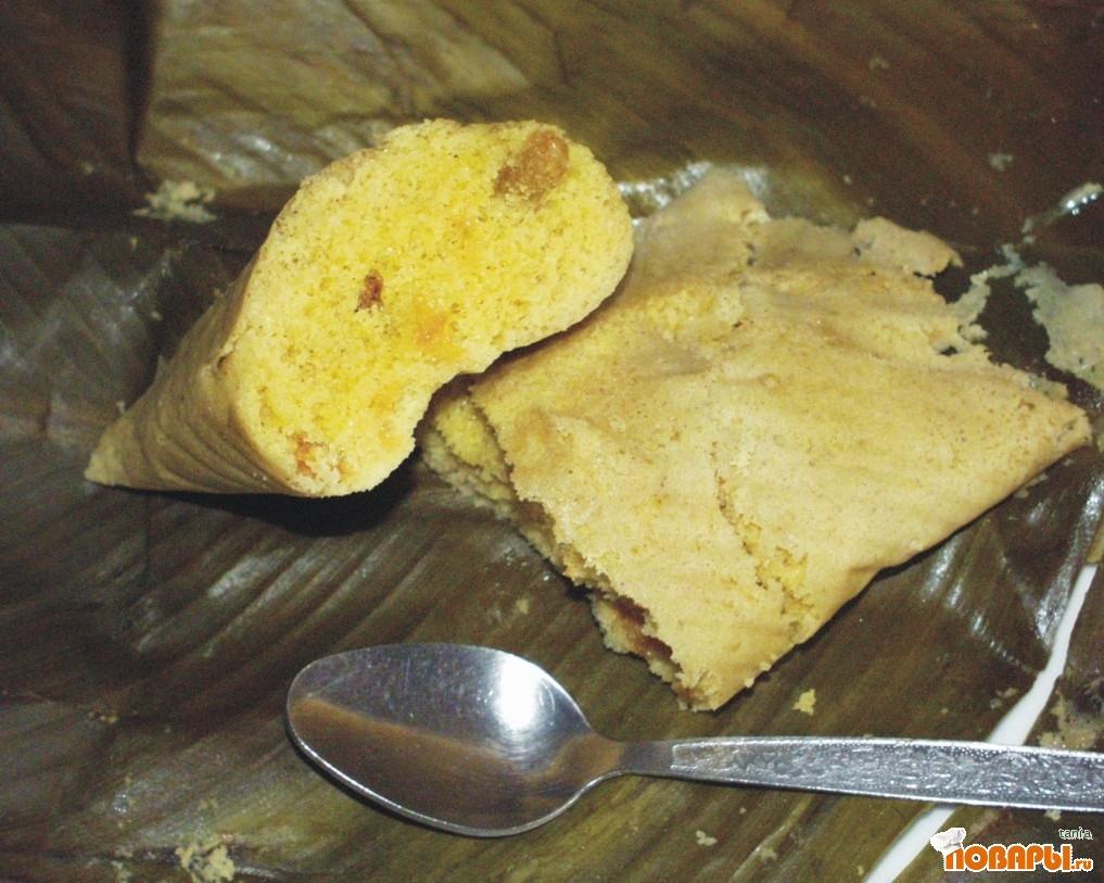 Рецепт Кимболитос (кукурузные кексы в листках канн на пару)