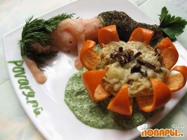 Рецепт Нежный паштет из королевского окуня и опят с острым зеленым соусом