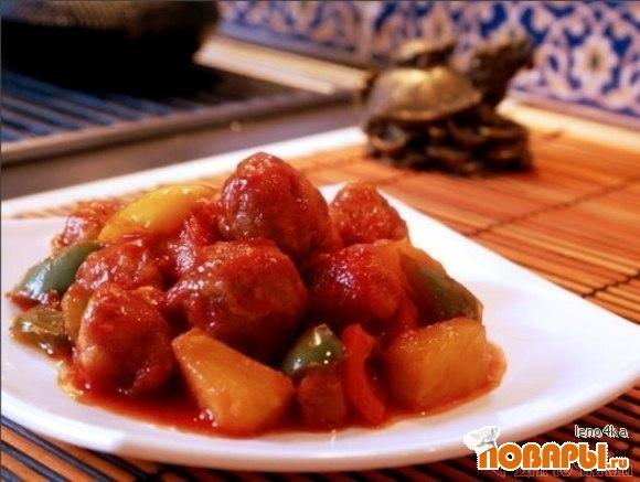 Рецепт Свинина с ананасами в кисло-сладком соусе