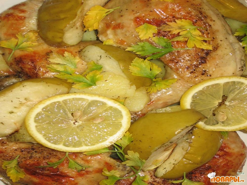 Рецепт Жаркое с курицеё и яблоками