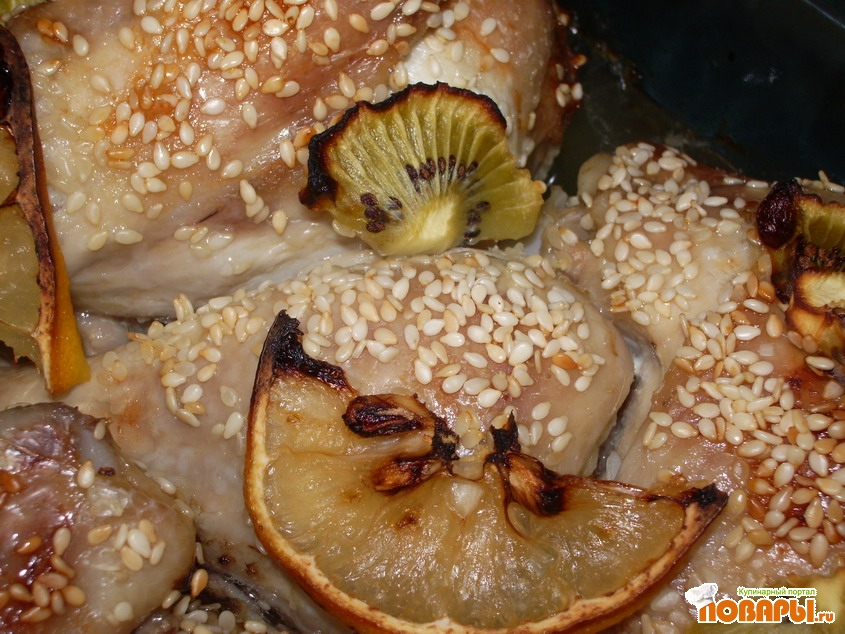 Рецепт Курочка с кунжутом, лимоном и киви.