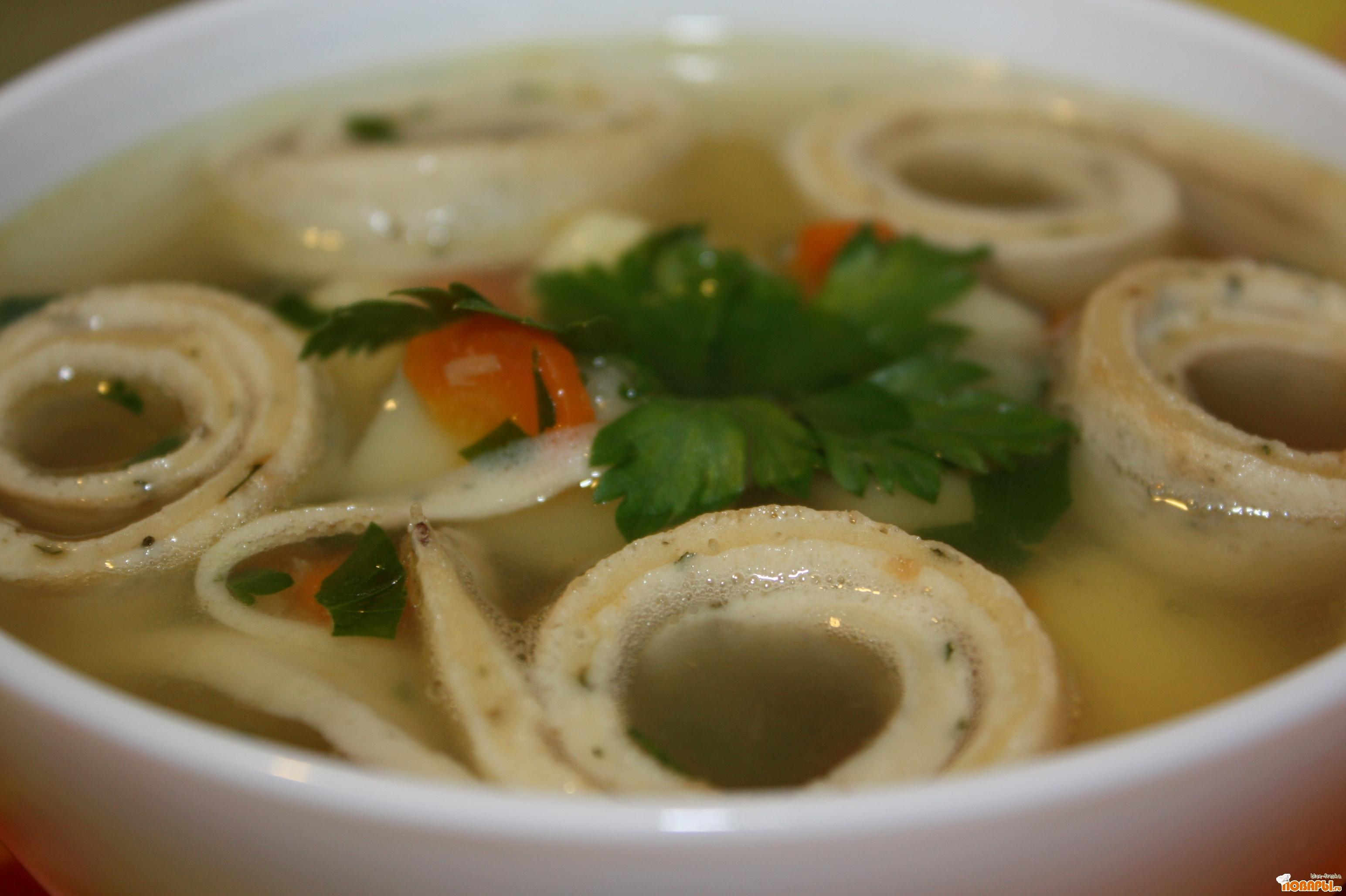 Рецепт Куриный суп с яичными блинчиками.